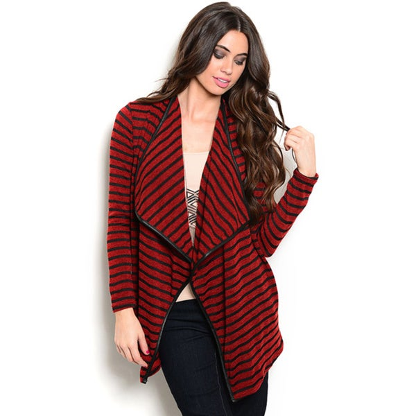 Shop the Trends Women's Long Sleeve Cardigan Sweater with Open Front Design and Allover Striped Print