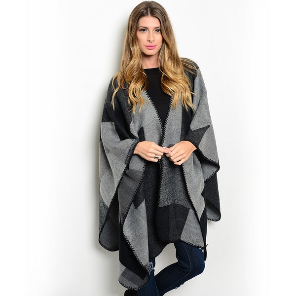 Shop the Trends Women's Long Sleeve Blanket Poncho Cardigan with Open Front and Allover Plaid Print
