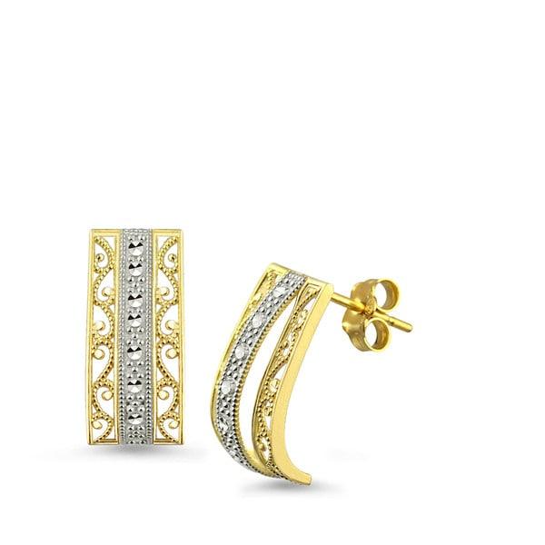 10k Two-tone Gold Filigree Design J-Hoop Earrings