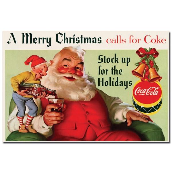 Coca Cola 'Coke Santa Merry Christmas with Elves' 24x36 Canvas Wall Art