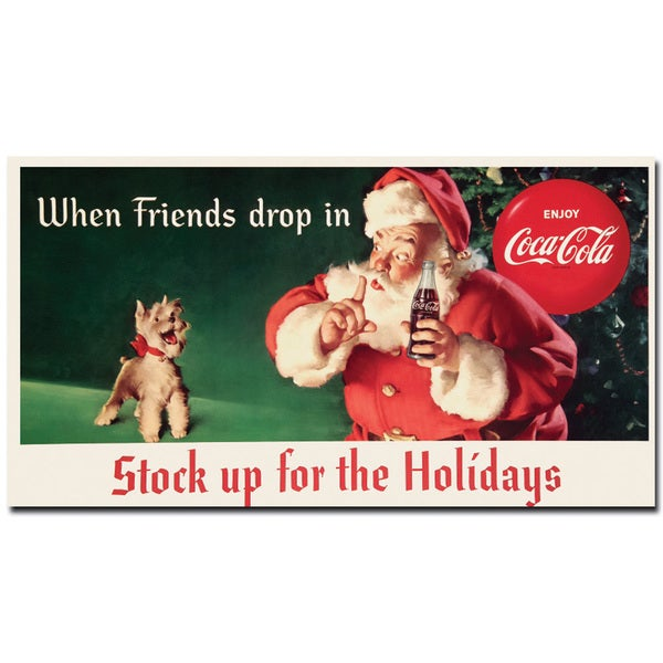 Coca Cola 'Coke Santa with Dog - Stock up for the Holiday' 24x36 Canvas Wall Art