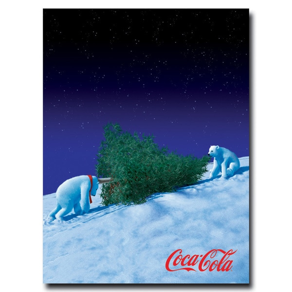 Coca Cola 'Coke Polar Bears with Christmas Tree' 24x36 Canvas Wall Art