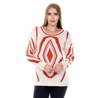 Stanzino Women's Geometric Print Chunky Knit Sweater
