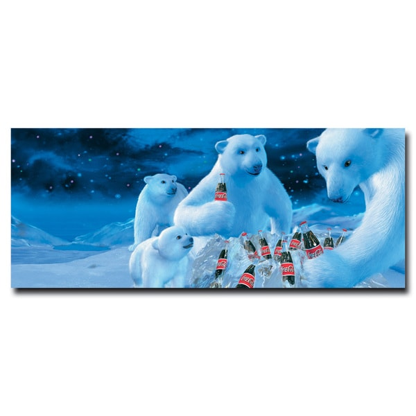 Coca Cola 'Coke Polar Bears with Nest of Coke Bottles' 24x36 Canvas Wall Art