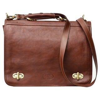Soft Italian Leather. Raisin Brown 15-inch Laptop Messenger Briefcase