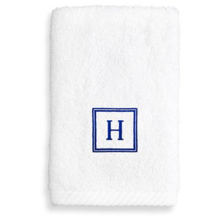 Authentic Hotel & Spa Turkish Cotton Soft Twist Washcloth with Embroidered Navy Blue Monogrammed Initial
