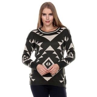 Stanzino Women's Olive Long Sleeve Geometric Print Sweater