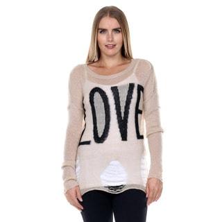 Stanzino Women's Long Sleeve Distressed Sweater