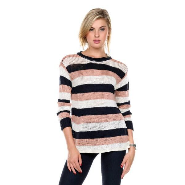 Stanzino Women's Crewneck Striped Long Sleeve Sweater