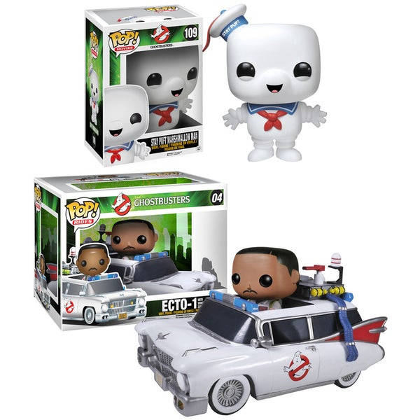Funko Ghostbusters Pop Movies Vinyl Collectors Set with 6-inch Stay Puft Man/ Ecto 1 and Zeddemore