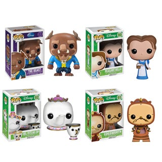Funko Beauty And The Beast Movie Pop Disney Vinyl Collectors Set with The Beast/ Peasant Belle/ Mrs. Potts w/Chip/ Cogsworth