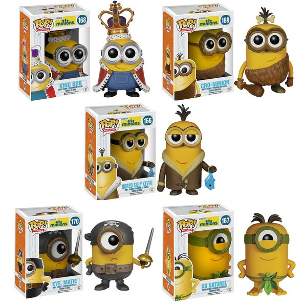 Funko Minions Pop Movie Vinyl Collectors Set with Minion King/ Cro-Minion/ Bored Silly Kevin/ Eye Matie/ Au Naturel 16190957