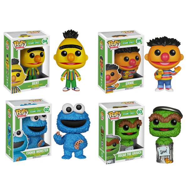 Funko Sesame Street Pop TV Vinyl Collectors Set with Bert/ Ernie/ Cookie Monster/ Oscar the Grouch