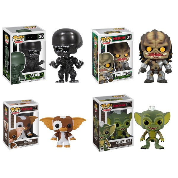 Funko Sci-Fi Fantasy Pop Movies Vinyl Collectors Set with Alien/ Predator/ Gizmo/ Gremlin