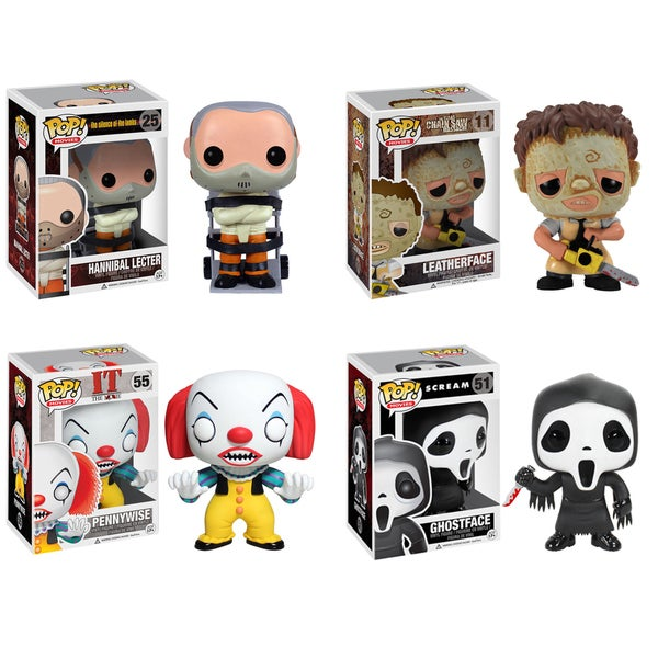 Funko Horror Classics Pop Movies Vinyl Collectors Set with Ghostface/ Hannibal/ Leatherface/ Pennywise
