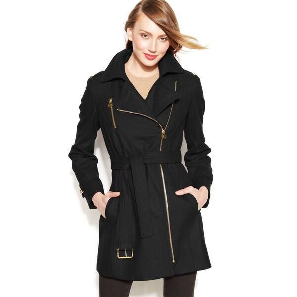MICHAEL Michael Kors Women's Black Wool Asymmetrical Coat 16191006