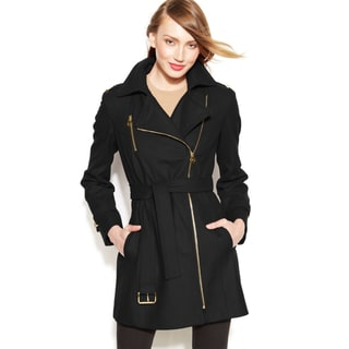 MICHAEL Michael Kors Women's Black Wool Asymmetrical Coat