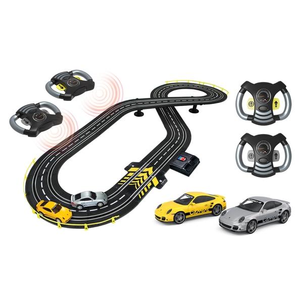 Artin 1:43 Scale Highway Hotshots Wireless Steer' N Race Slot Car Racing Set