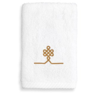Authentic Hotel & Spa Turkish Cotton Soft Twist Washcloth with Embroidered Gold Filigree Design