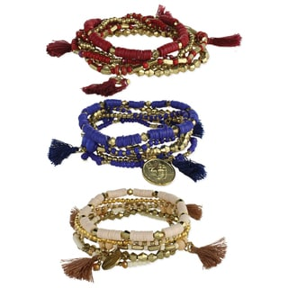 Handcrafted Set of 6 Tassel, Beads and Coin Stretch Bracelets (India)