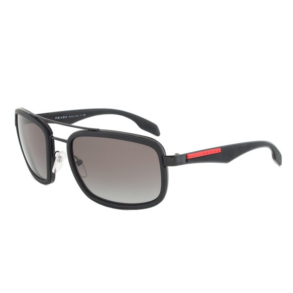 Prada Sport SPS 52P 1BO-3M1 Rectangular Sunglasses in Black
