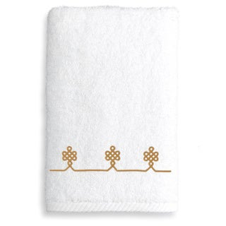 Authentic Hotel & Spa Turkish Cotton Soft Twist Hand Towel with Embroidered Gold Filigree Design
