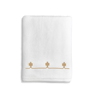 Authentic Hotel & Spa Turkish Cotton Soft Twist Bath Towel with Embroidered Gold Filigree Design