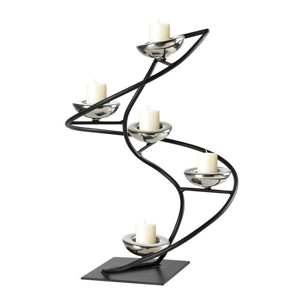 Sterling Iron Black/ Chrome Spiral Candle Holder