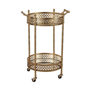 Rolling Gold Banded Round Bar Cart
