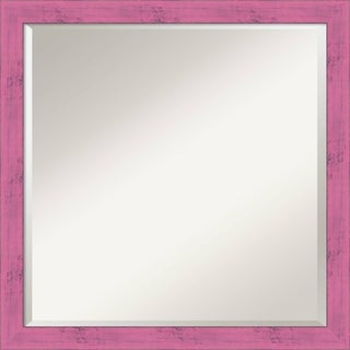 Petticoat Pink Rustic Wall Mirror - Square 22 x 22-inch