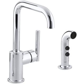 Kohler Purist 1-Handle Kitchen Faucet with Side Sprayer in Polished Chrome - 1.8 GPM