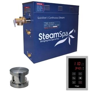 SteamSpa Oasis 7.5 KW QuickStart Steam Bath Generator Package in Brushed Nickel
