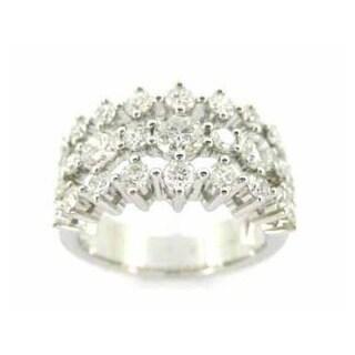 Kabella 18k White Gold 2 1/3 TDW Diamond 3-row Ring (G-H, VS1-VS2)