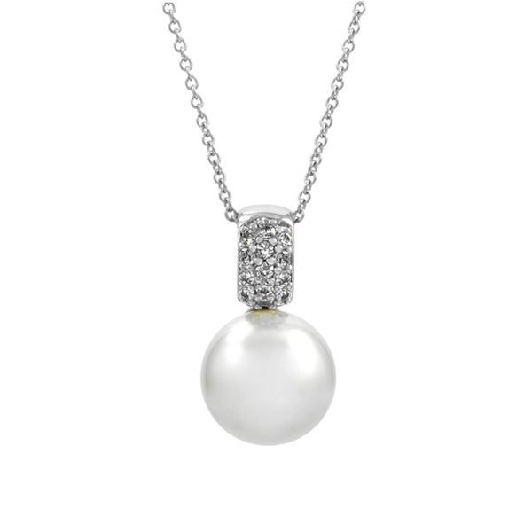 Bridal Jewelry: Elegant CZ & pearl Necklace 16192079