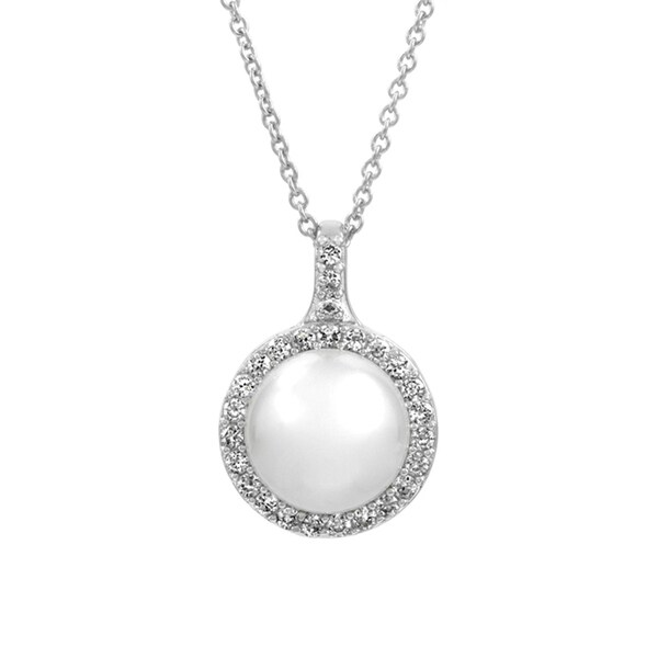 Bridal Jewelry: Elegant CZ & pearl Necklace 16192080