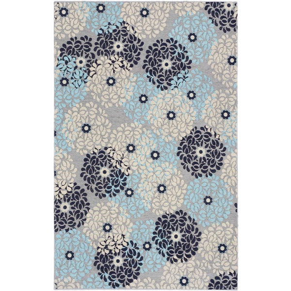 Ecarpetgallery Portico Grey Light Blue Floral Rug (5'0 x 8'0)