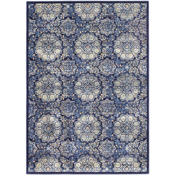 Ecarpetgallery Rosalyn Dark Navy Open Field Rug (5'3 x 7'3)