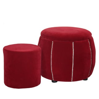 17.5-inch Red Pumpkin Seating Ottoman with Extra Seating