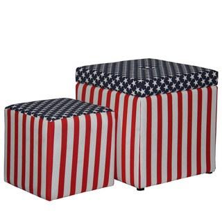 18-inch Patriotic Storage Ottoman + 1 Extra Seating