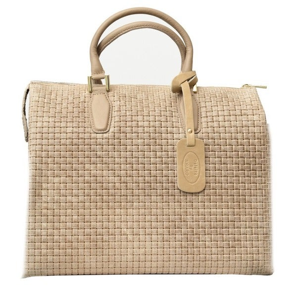 Deleite 17 Taupe Italian Leather Woven Satchel