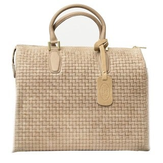 Deleite by Sharo Italian Leather Taupe Woven Satchel Handbag