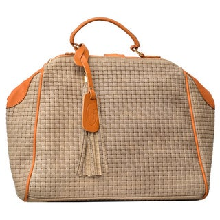 Deleite 16 Large Taupe Italian Leather Woven Satchel with Apricot Trim