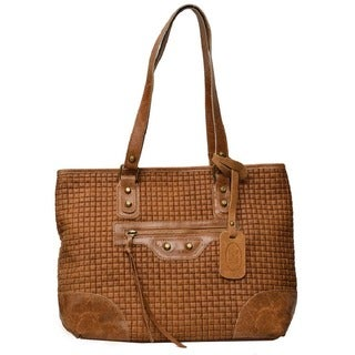 Deleite by Sharo Brown Honey Mustard Italian Leather Woven Tote Bag
