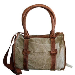 Mint and Brown Canvas and Leather Large Handbag Tote