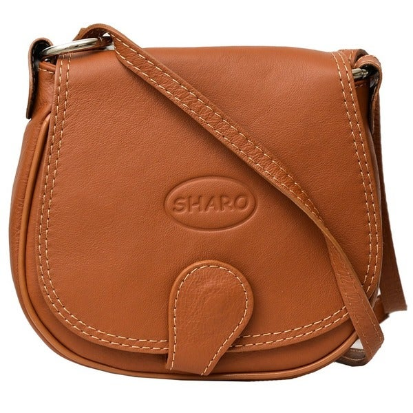 Small Apricot Brown Genuine Italian Leather Saddlebag Crossbody