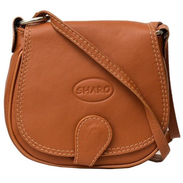Small Apricot Brown Genuine Italian Leather Saddlebag Crossbody