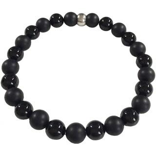 Black Onyx and Matte Black Onyx Bracelet