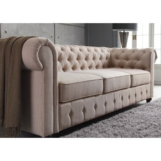 Moser Bay Furniture Garcia Beige Hand-tufted Rolled Arms Sofa