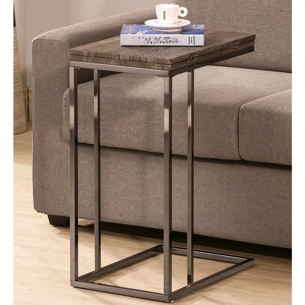 Java Weathered Wood Expendable Flip Top Snack Side Table
