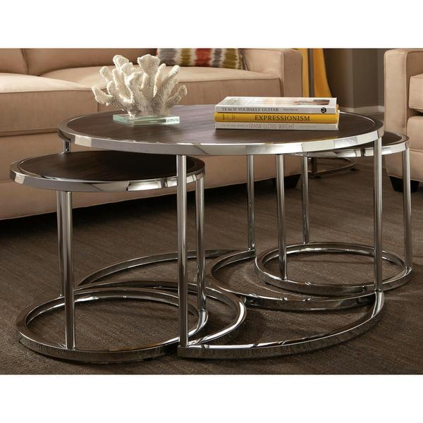 Dorango Modern Chrome 3 Piece Cocktail Round Nesting Table Set 17619756